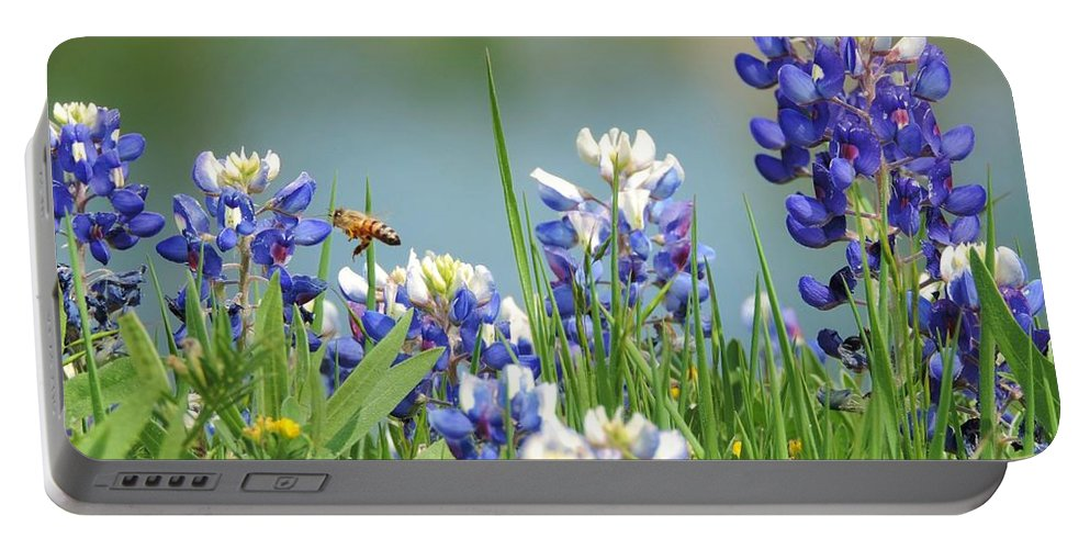 Texas Bluebonnets Portable Battery Charger featuring the photograph Buzzing The Bluebonnets 01 by Robert ONeil