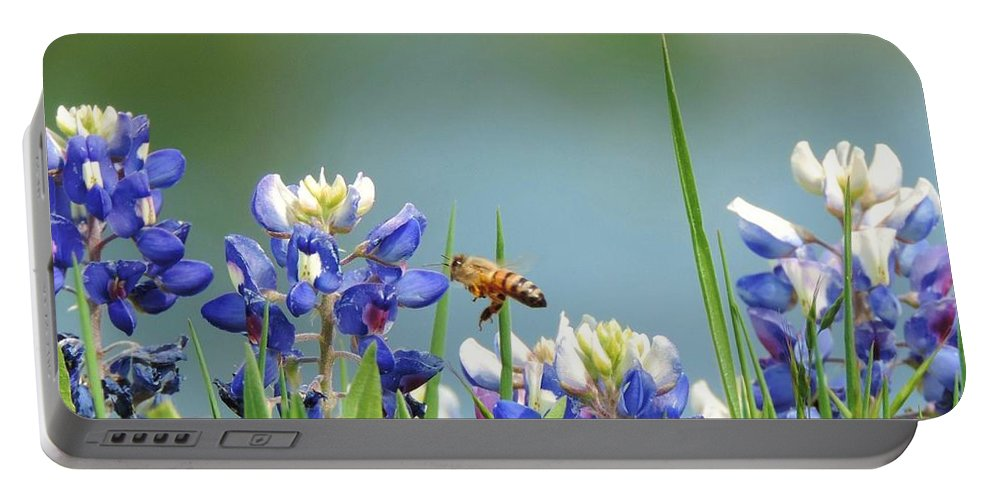 Texas Bluebonnets Portable Battery Charger featuring the photograph Buzzing The Bluebonnets 02 by Robert ONeil