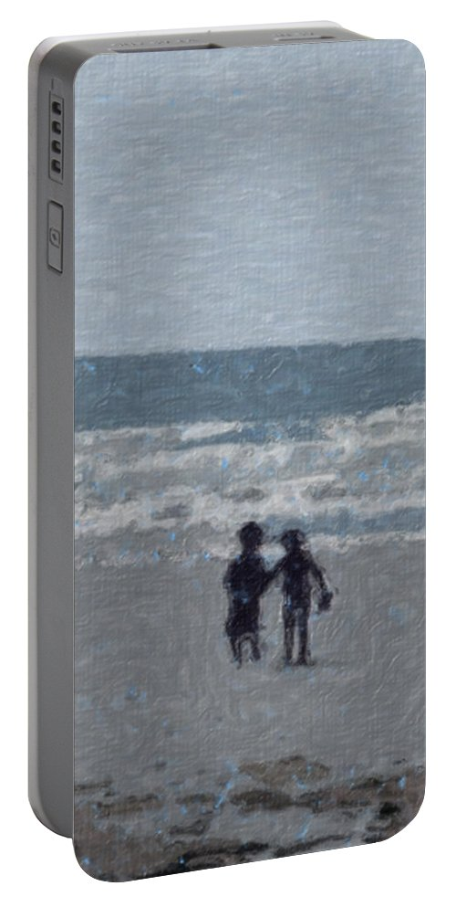Fun Portable Battery Charger featuring the painting By The Ocean by Sergey Bezhinets