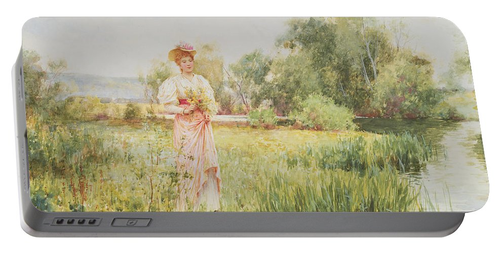 By The River Portable Battery Charger featuring the painting By The River by Alfred I Glendening