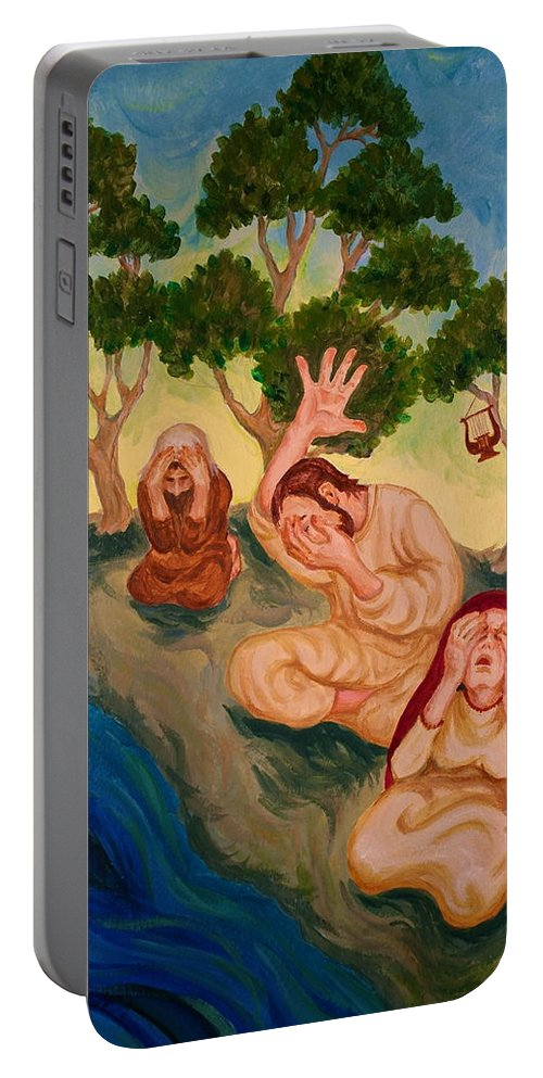 Psalm 137 Portable Battery Charger featuring the painting By The Rivers Of Babylon - Psalm 137 by Michele Myers