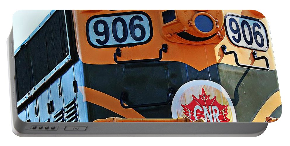 Cnr Train 906 Portable Battery Charger featuring the photograph C N R Train 906 by Barbara Griffin