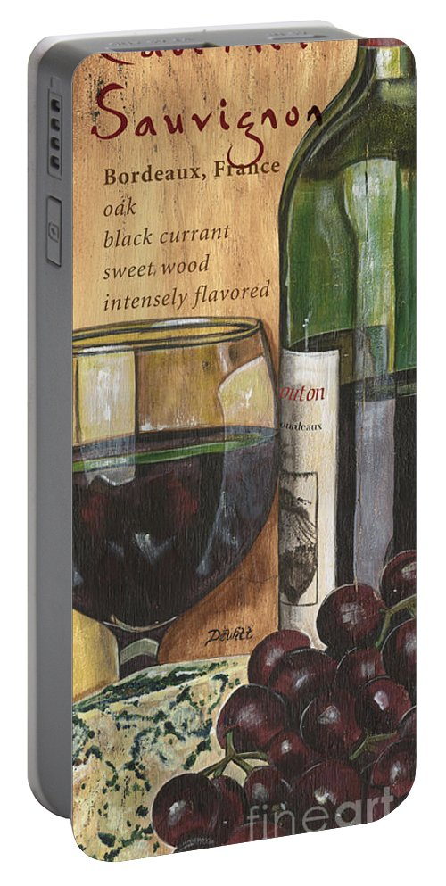 Cabernet Portable Battery Charger featuring the painting Cabernet Sauvignon by Debbie DeWitt