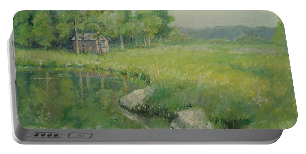 Landscape Portable Battery Charger featuring the painting Cabin By The Pond by Sarah Parks