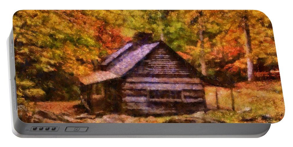 The Jim Bales Place In Autumn Portable Battery Charger featuring the painting Cabin In Autumn by Dan Sproul