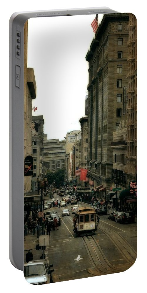 Cable Car Portable Battery Charger featuring the photograph Cable Car In The City by Michelle Calkins