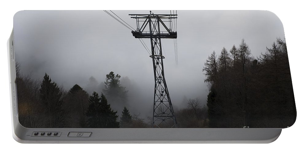 Cableway Portable Battery Charger featuring the photograph Cableway Tower by Mats Silvan