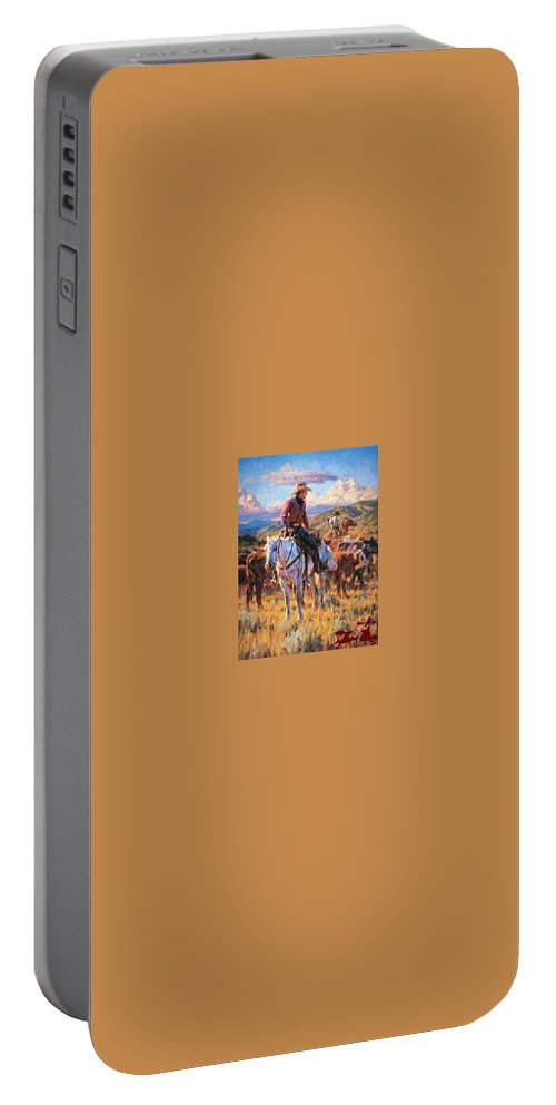 Jason Rich Portable Battery Charger featuring the digital art Cache Valley Round Up Paper by Jason Rich