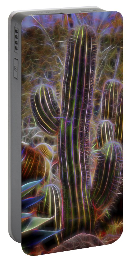 Cactus Color Portable Battery Charger featuring the photograph Cacti Lights by Kelley King