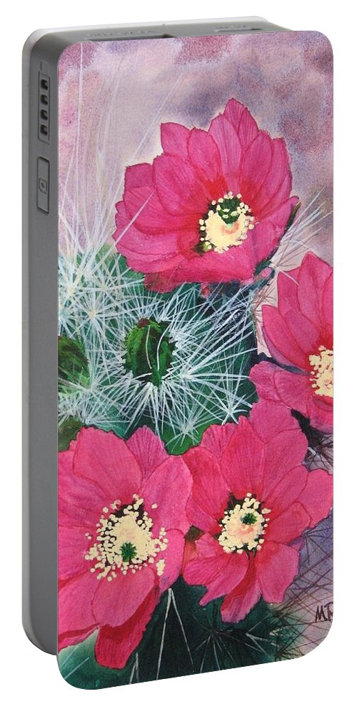 Cactus Portable Battery Charger featuring the painting Cactus Flowers I by Mike Robles