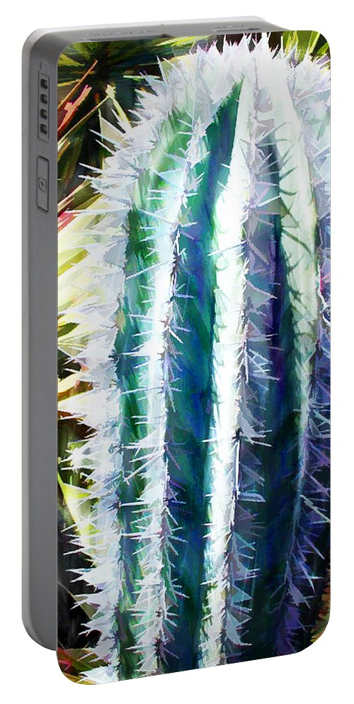 Cactus Portable Battery Charger featuring the painting Cactus Pillar by Elaine Plesser