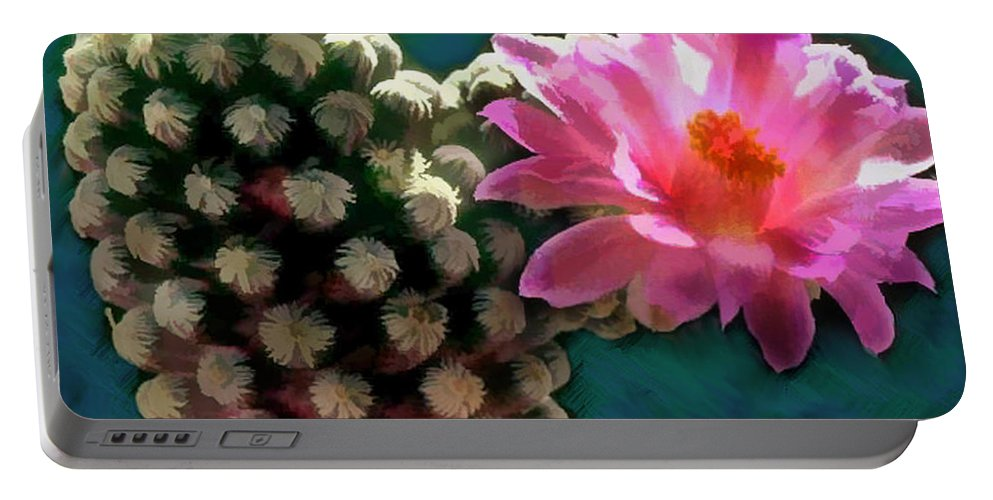 Cactus Portable Battery Charger featuring the painting Cactus With Pink Sunlit Bloom by Elaine Plesser