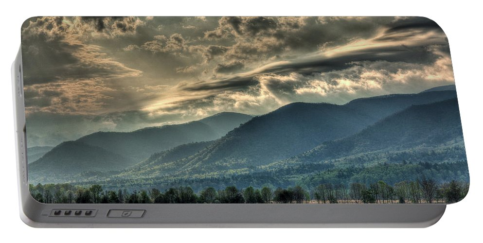 Portable Battery Charger featuring the photograph Cades Cove Hdr Spring 2014 by Douglas Stucky