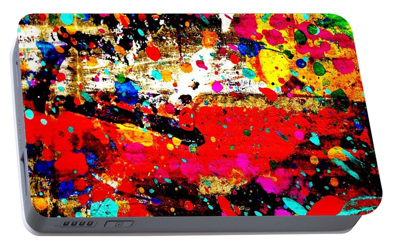 Abstract Portable Battery Charger featuring the painting Cadmium Abstract by John Nolan