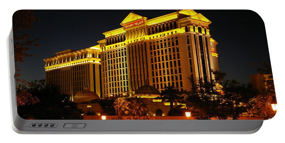 Night Life Portable Battery Charger featuring the photograph Caesars Palace At Night by Lena Photo Art