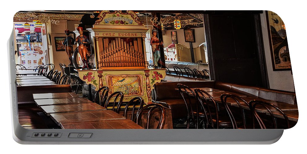 Cafe Portable Battery Charger featuring the photograph Cafe Chez Eugene - Montmartre by Dany Lison