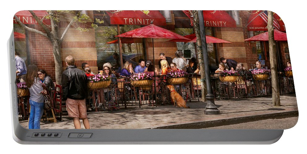 Savad Portable Battery Charger featuring the photograph Cafe - Hoboken Nj - Cafe Trinity by Mike Savad
