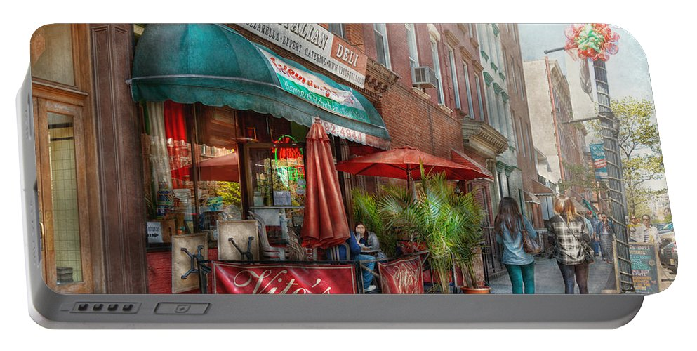 Savad Portable Battery Charger featuring the photograph Cafe - Hoboken Nj - Vito's Italian Deli by Mike Savad