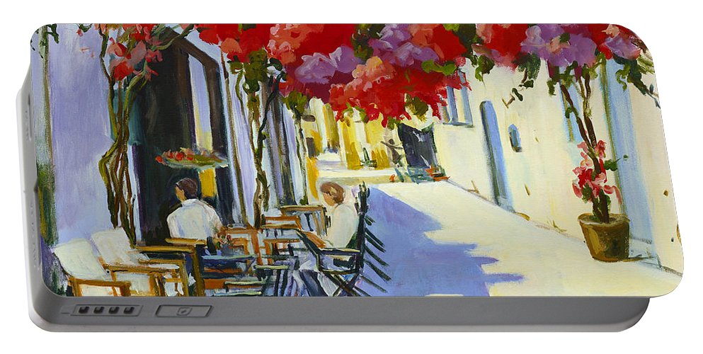 Cafe Portable Battery Charger featuring the painting Cafe by Alexandra Maria Ethlyn Cheshire