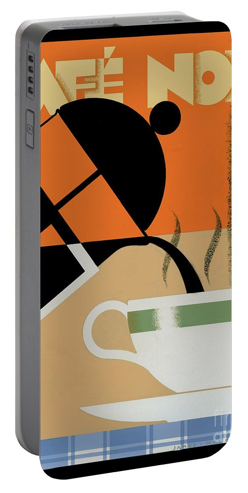 Brian James Portable Battery Charger featuring the photograph Cafe Noir by MGL Meiklejohn Graphics Licensing