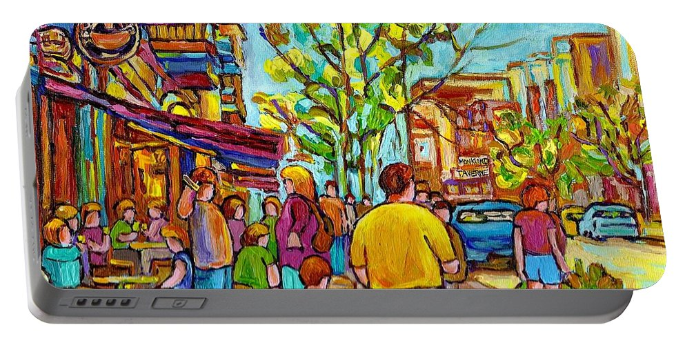 Montreal Streetscene Portable Battery Charger featuring the painting Cafes In Springtime by Carole Spandau