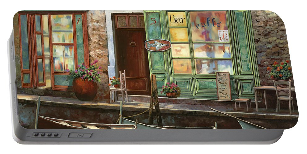 Venice Portable Battery Charger featuring the painting caffe Carlotta by Guido Borelli