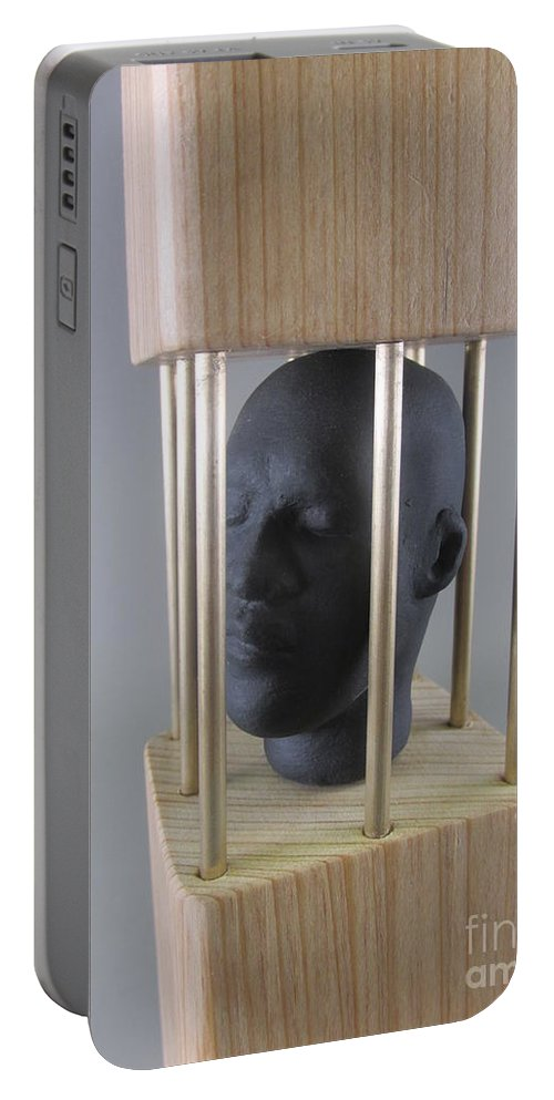 Caged Portable Battery Charger featuring the sculpture Caged by Anthony George
