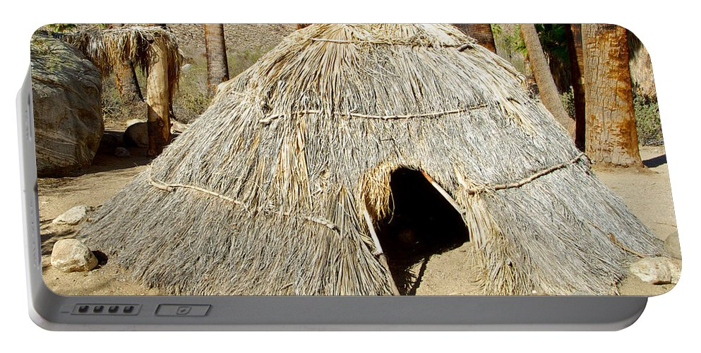 Cahuilla Indian Dwelling In Andreas Canyon In Indian Canyons Portable Battery Charger featuring the photograph Cahuilla Indian Dwelling In Andreas Canyon In Indian Canyons-ca by Ruth Hager