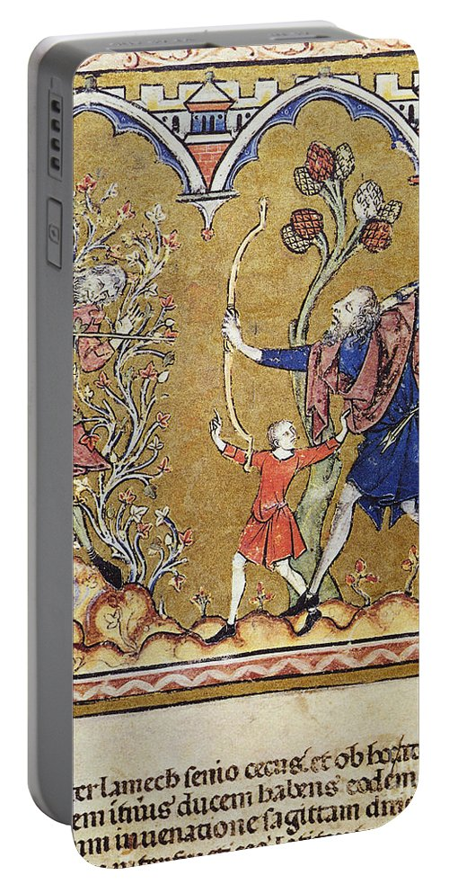 1250s Portable Battery Charger featuring the painting Cain Slain By Lamech by Granger