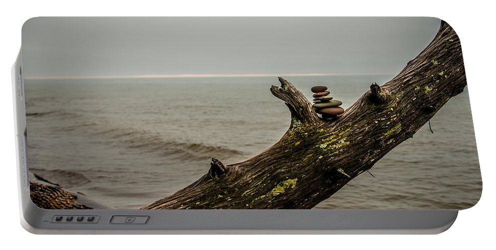 Cairn Portable Battery Charger featuring the photograph Cairn On Superior by Paul Freidlund