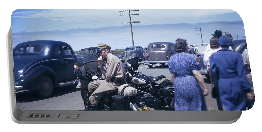 Motorcycle Portable Battery Charger featuring the photograph California Highway Patrol Harley Davidson Circa 1948 by California Views Archives Mr Pat Hathaway Archives