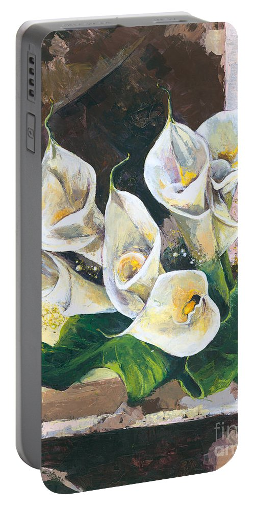 Canvas Prints Portable Battery Charger featuring the painting Callas by Elisabeta Hermann