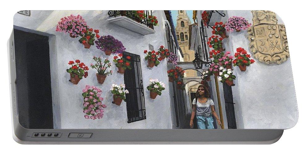 Landscape Portable Battery Charger featuring the painting Calleje De Las Flores Cordoba Spain by Richard Harpum