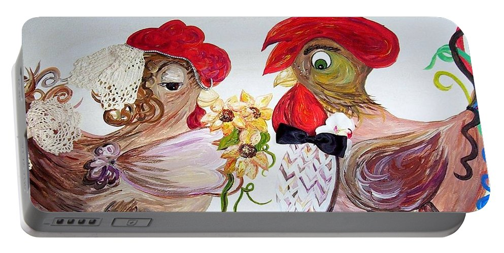 Rooster Portable Battery Charger featuring the painting Calling All Chicken Lovers Say I Do by Eloise Schneider