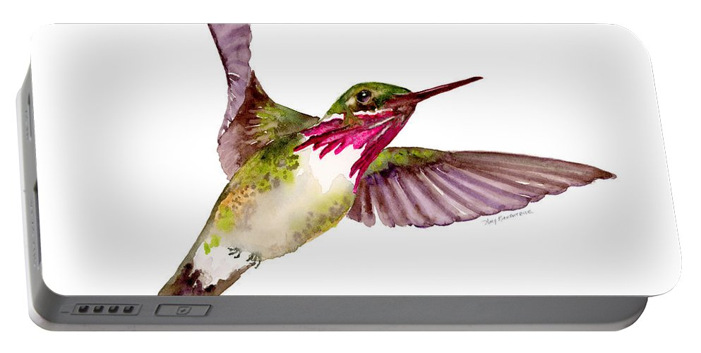 Bird Portable Battery Charger featuring the painting Calliope Hummingbird by Amy Kirkpatrick