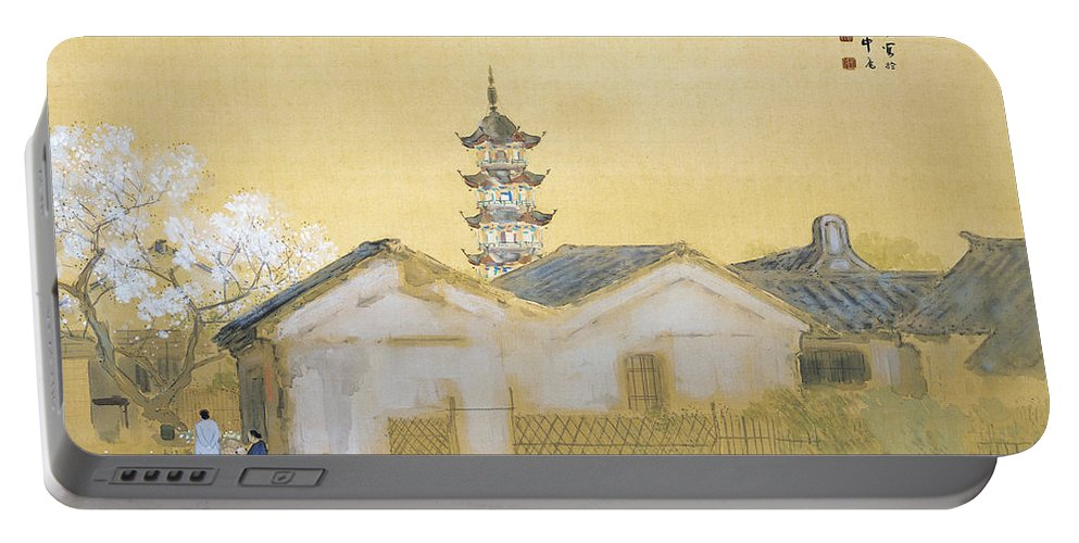 Takeuchi Seiho Portable Battery Charger featuring the painting Calm Spring In Jiangnan by Takeuchi Seiho