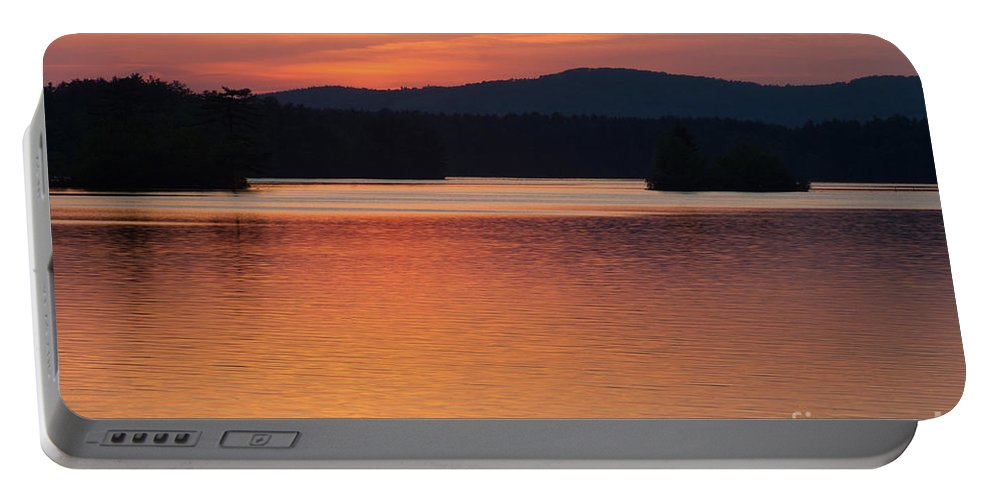 Lake Portable Battery Charger featuring the photograph Calm Sunset by Ray Konopaske