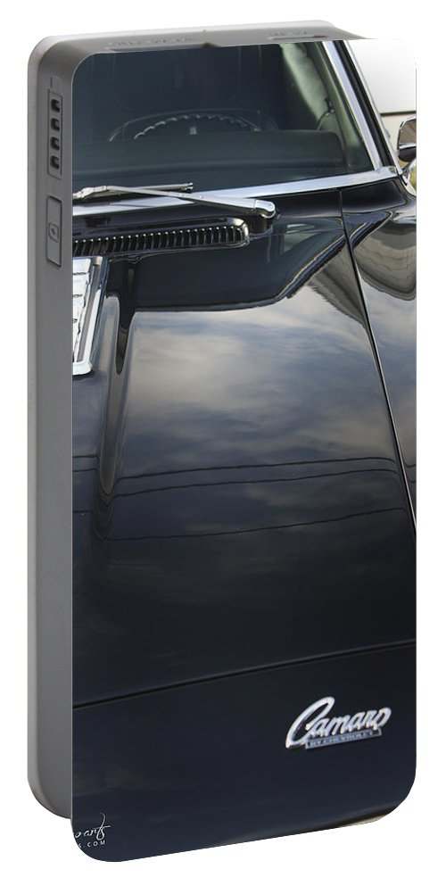 Car Show Portable Battery Charger featuring the photograph Camaro Hood by Robin Lewis