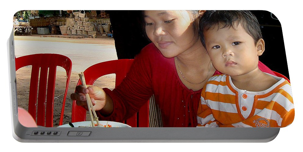 Cambodians Portable Battery Charger featuring the photograph Cambodian Life 02 by Jeff Brunton
