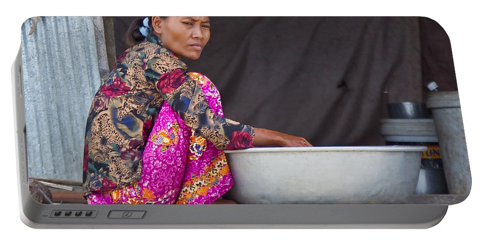 Cambodia Portable Battery Charger featuring the photograph Laundry Day by David Freuthal