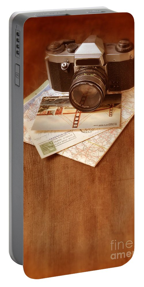 Camera Portable Battery Charger featuring the photograph Camera Map And Postcards by Jill Battaglia