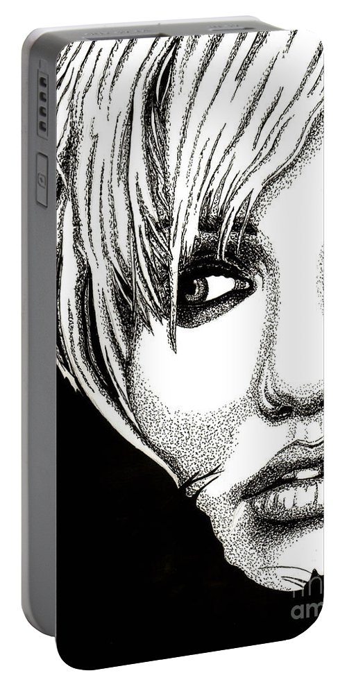 Cameron Diaz Portable Battery Charger featuring the drawing Cameron Diaz by Cory Still