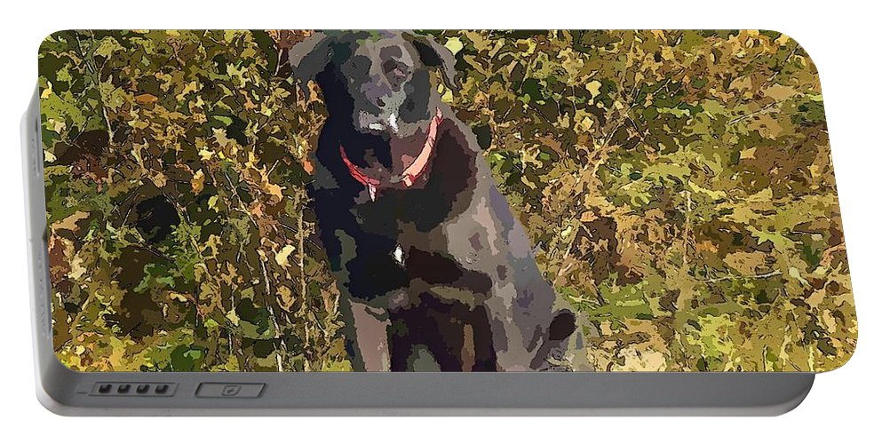 Camouflage Labrador Portable Battery Charger featuring the painting Camouflage Labrador - Black Dog - Retriever by Barbara Griffin