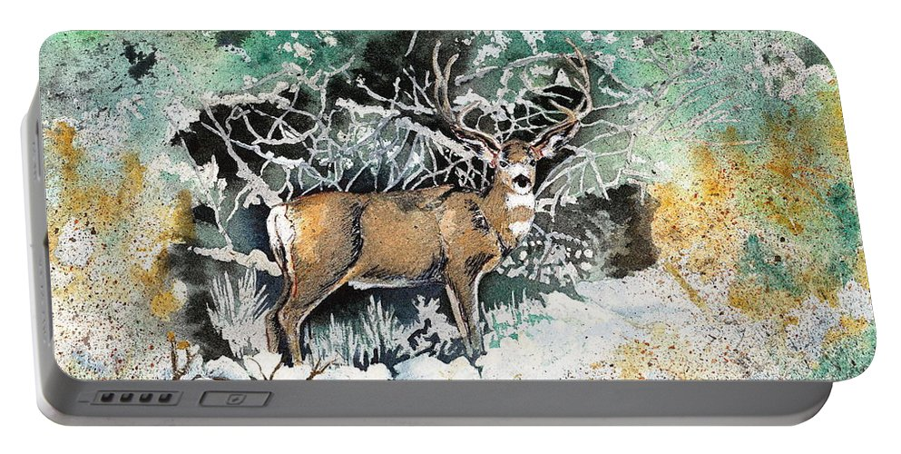 Camouflage Portable Battery Charger featuring the painting Camouflaged Mule Deer Buck In Winter by Dale Jackson