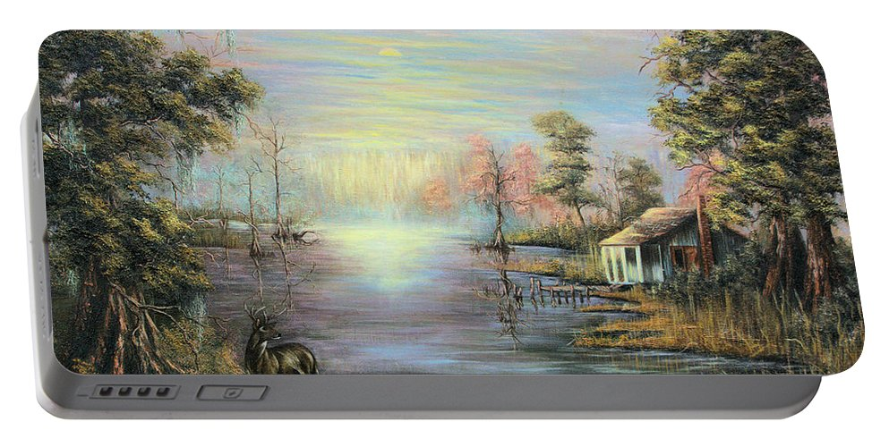 Camp On The Bayou Portable Battery Charger featuring the painting Camp On The Bayou by Karry Degruise