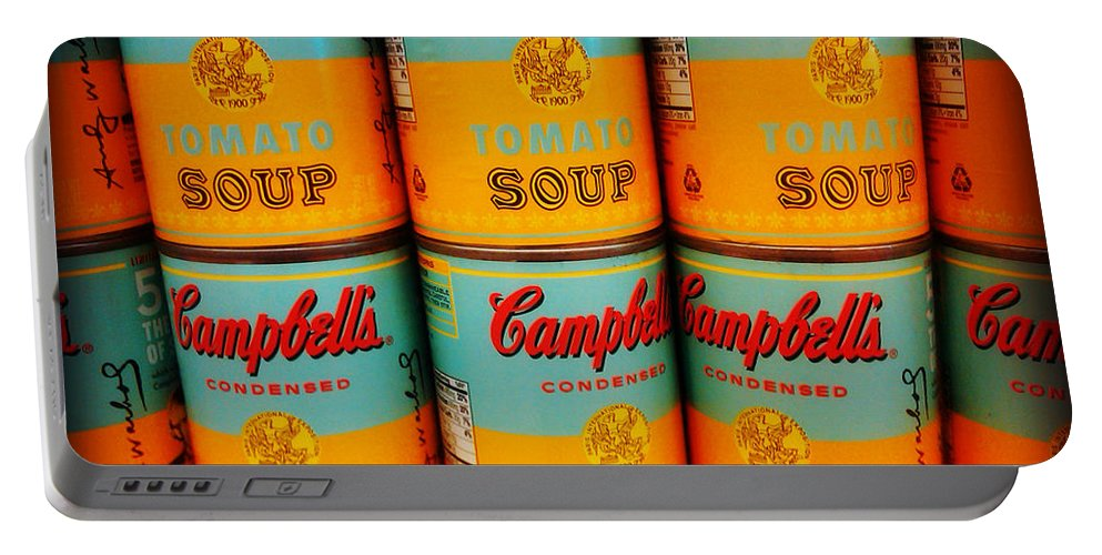Campbell's Tomato Soup Portable Battery Charger featuring the photograph Campbell's Soup Retro Andy Warhol by Beth Ferris Sale
