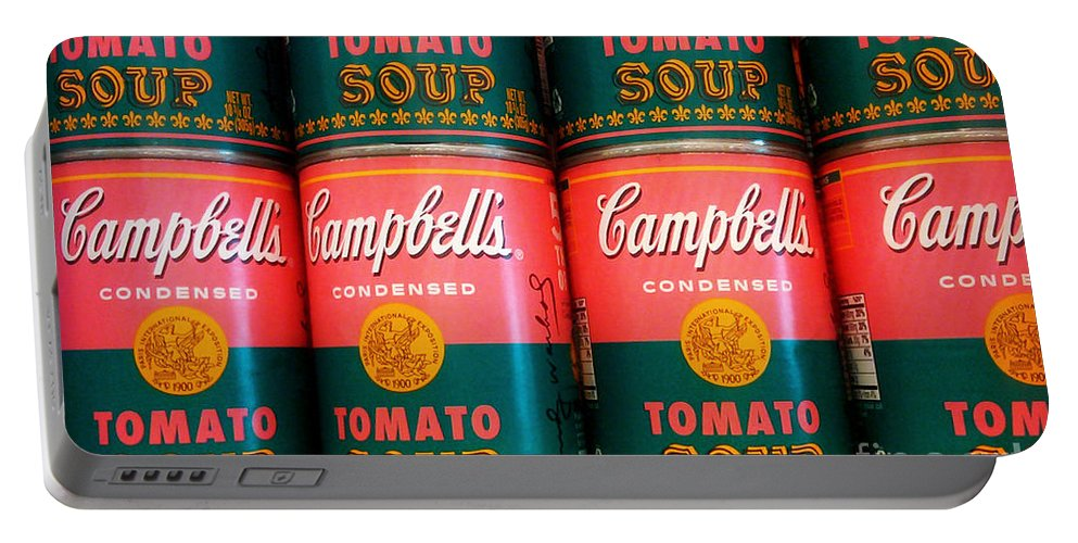 Campbell's Soup Portable Battery Charger featuring the photograph Campbell's Tomato Soup Pop Art by Beth Ferris Sale