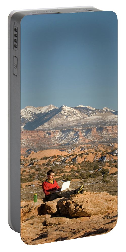 Adult Portable Battery Charger featuring the photograph Camping With Laptop by Tom Bol