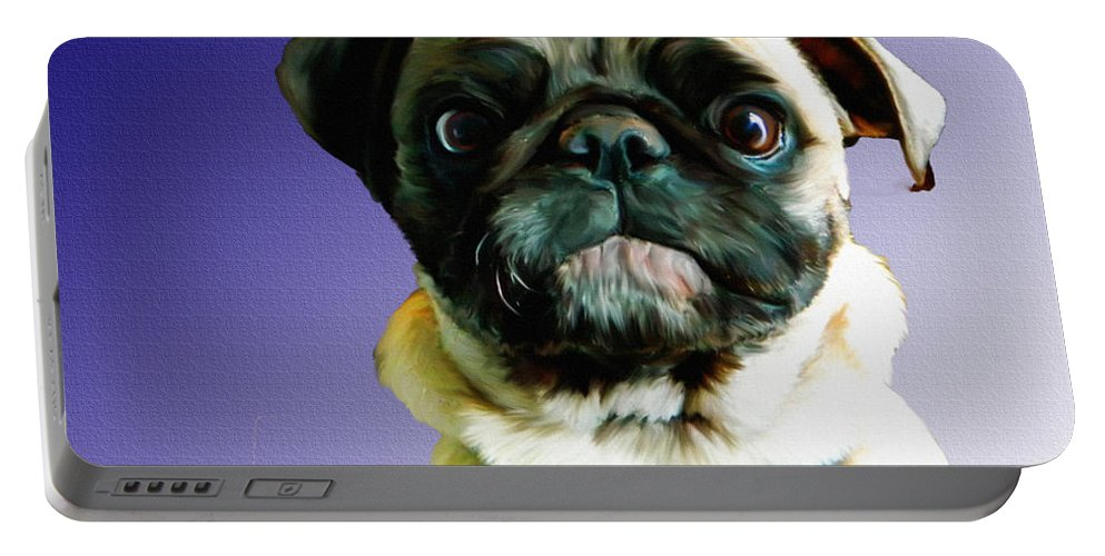 Pug Portable Battery Charger featuring the painting Can I Come Too by Shere Crossman