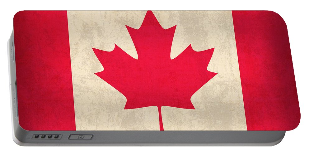 Canada Portable Battery Charger featuring the mixed media Canada Flag Vintage Distressed Finish by Design Turnpike